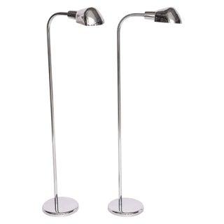 American Art Deco Revival Aluminum and Chrome Metal Floor Lamps - a Pair For Sale