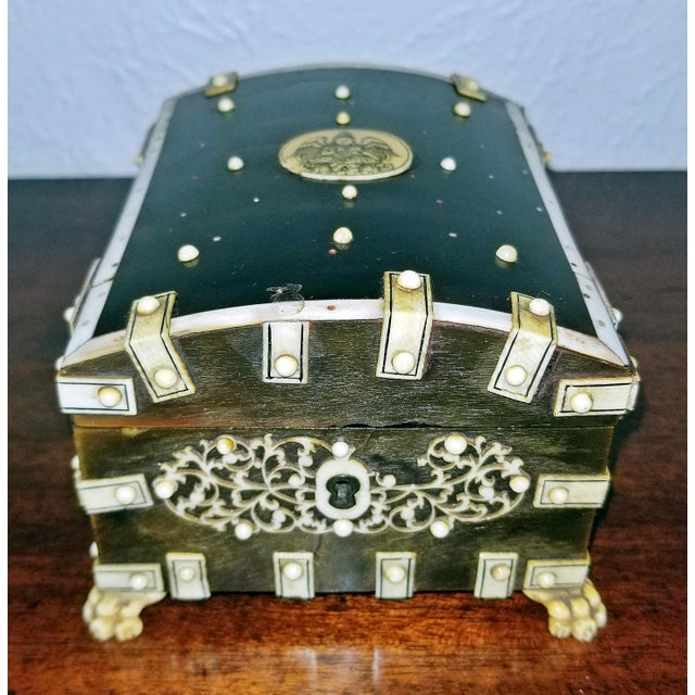 Black 18th Century Anglo-Indian Vizigapatam Pocket Watch Display Box For Sale - Image 8 of 13