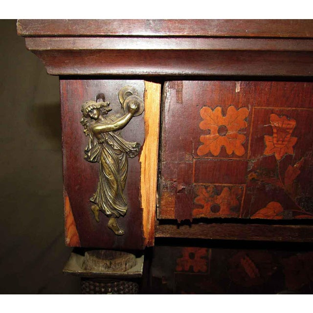 Tall Inlaid Dresser With Bronze Reliefs For Sale - Image 6 of 10