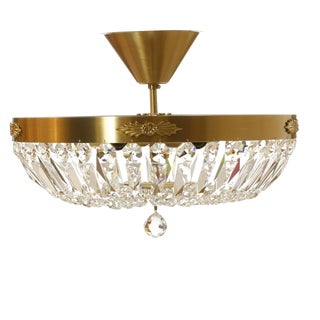 Brass Plafond Crystal Chandelier - 14 inches For Sale