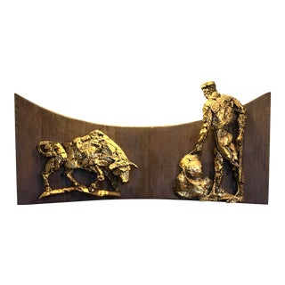 1960s Vintage Finesse Brutalist Matador and Bull Wall Sculpture For Sale