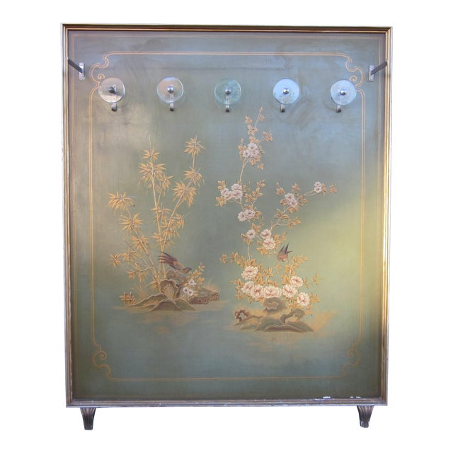 1920s Vintage Art Deco Chinoiserie Italian Atelier Green Painted Hall Tree Coat Rack For Sale