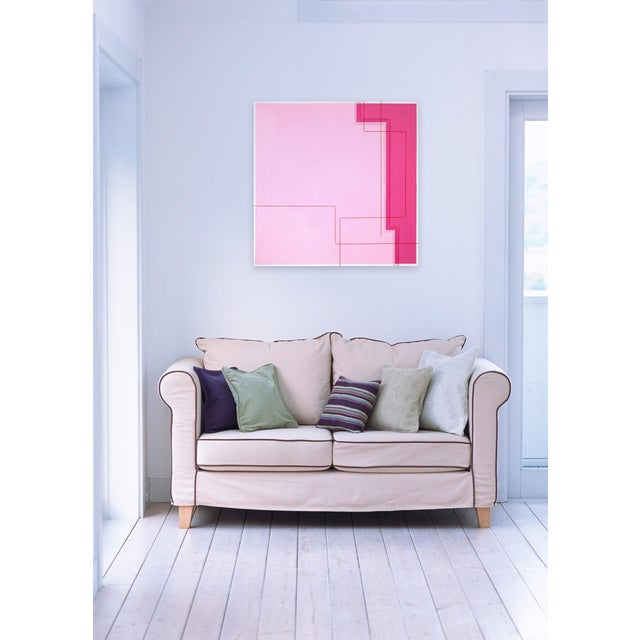 Acrylic, graphite and thread on canvas Edition: Unique, Unframed. The threaded lines suggest a physical barrier that...