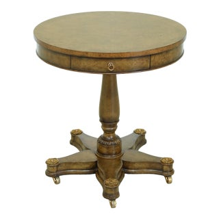 Maitland Smith Round Neo Classical 1 Drawer Elm Table For Sale