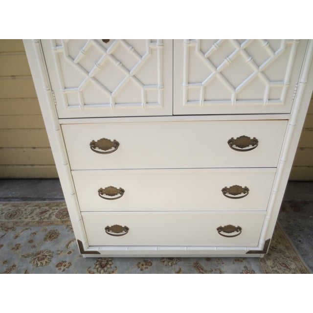 1960s Chippendale Thomasville Huntley Faux Bamboo Tall Chest With Brass Accents For Sale In West Palm - Image 6 of 12