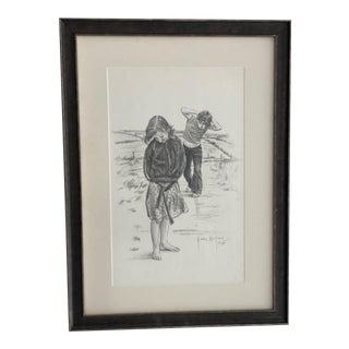 Original Gordon Wetmore Sketch of Barefoot Walk For Sale