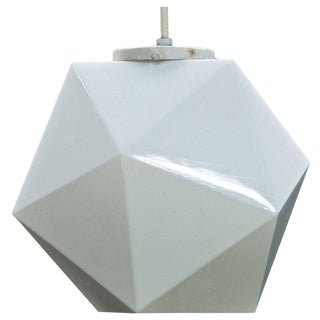 Vintage Midcentury George Nelson Attributed Faceted Geometric Pendant Globe Lamp For Sale