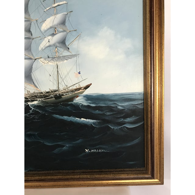 White Large Sailing Ship Painting For Sale - Image 8 of 13