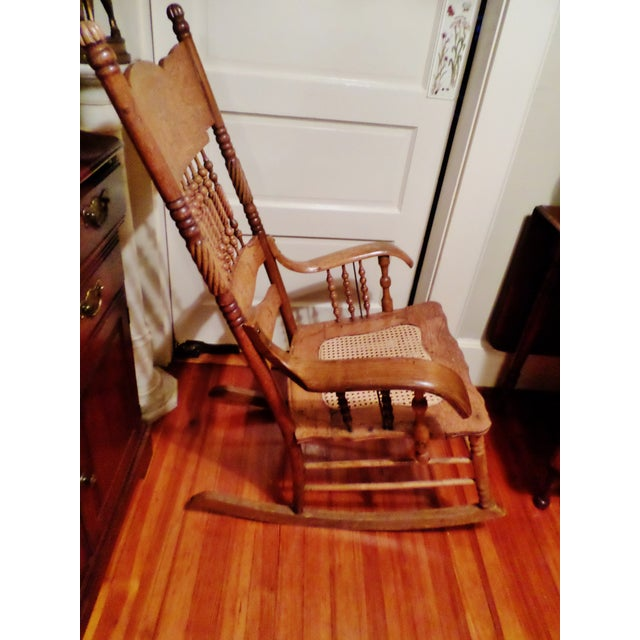 Late 20th Century Late 20th Century Antique Golden Oak Rocking Chair For Sale - Image 5 of 13
