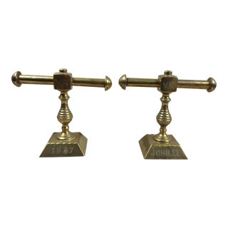 Brass Fire Tool Holders - a Pair For Sale