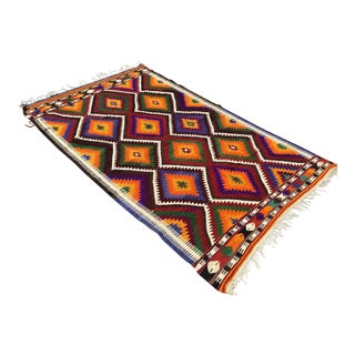 Bright Color Vintage Turkish Kilim Rug