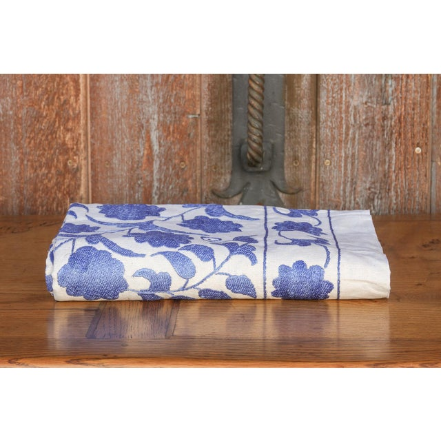 Blue Suzani Tapestry Throw For Sale - Image 9 of 9