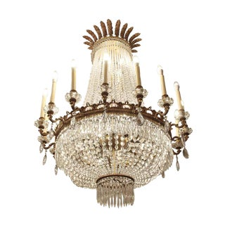 Early 20th Century Palace Hotel Lobby Crystal & Bronze Empire Style Chandelier For Sale
