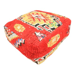 Moroccan Red & Yellow Unstuffed Pouf For Sale
