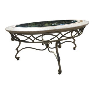 Regency Maitland-Smith Tessellated Stone and Scrolled Iron Coffee Table With Leaded Glass For Sale