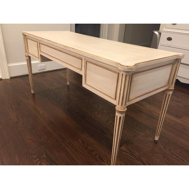 Drexel Scandinavian French Creamy White Drexel Desk With Gilding - Image 5 of 11