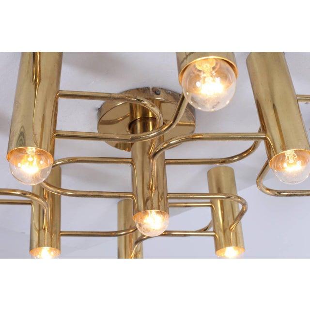 Mid-Century Modern Brass Nine-Light Flush Mount Wall or Ceiling Lamp by Leola For Sale - Image 3 of 5