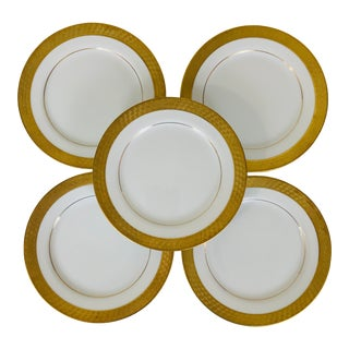 Vintage Mikasa Raised Gold Bread Plates - Set of 5 For Sale