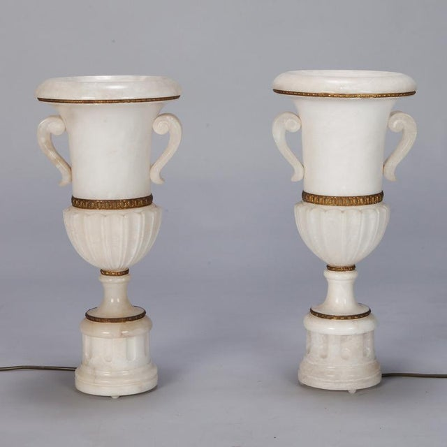 Pair Tall Urn Form Alabaster and Bronze Lamps For Sale - Image 11 of 11