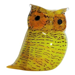 1970s Vintage Antonio Da Ros for Cenedese Murano Glass Owl Sculpture For Sale