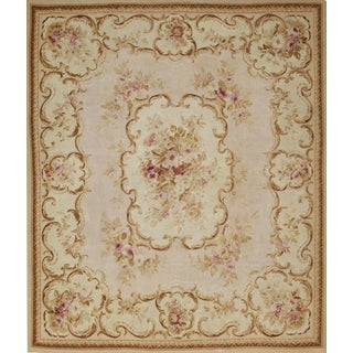 19th Century Handwoven Antique Aubusson Rug For Sale
