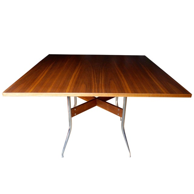 Metal George Nelson for Herman Miller Modern Walnut Square Dining Table For Sale - Image 7 of 8