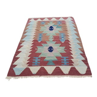 1970s Vintage Turkish Tapis Kilim Rug - 2′8″ × 3′3″ For Sale