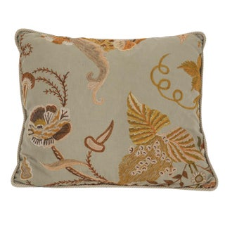 Crewel Work on Linen Pillow For Sale