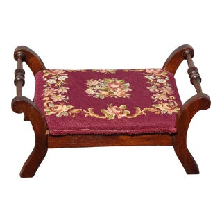 Vintage French Provincial Red Burgundy Floral Tapestry Needlepoint Footstool For Sale