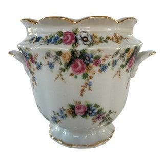 Vintage Floral Porcelain Scalloped Cachepot Rimmed in Gold For Sale