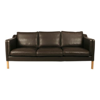 Vintage Danish Brown Leather 3-Seat Sofa