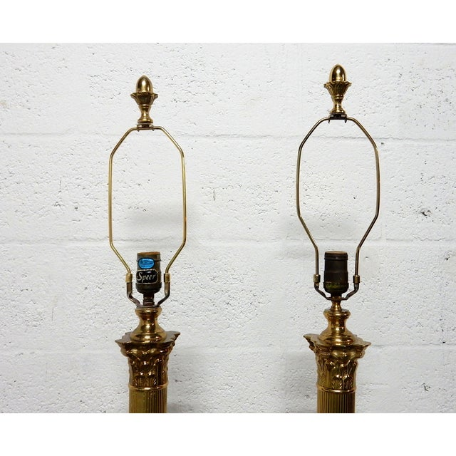 Speer Brass Floor Lamps With Harp - A Pair - Image 6 of 10
