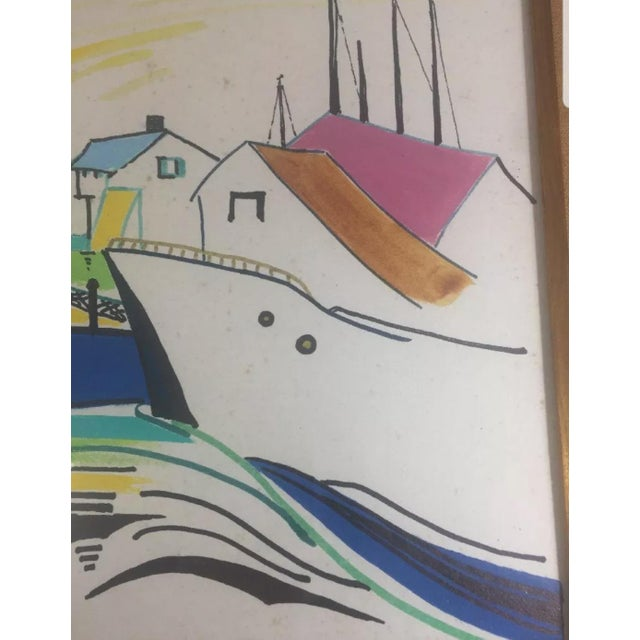 1960s 1960s Nautical Watercolor Painting by Ralston Crawford, Framed For Sale - Image 5 of 9