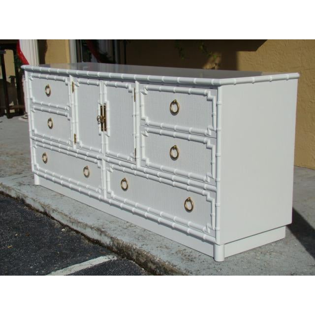 Asian 1960s Chinoiserie Bamboo Rattan Long Dresser For Sale - Image 3 of 7