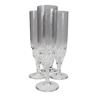 Late 20th Century Vintage Ingeborg Lundin Orrefors Crystal Champagne Flutes - Set of 4 For Sale