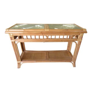 Glass Top Bamboo Console For Sale