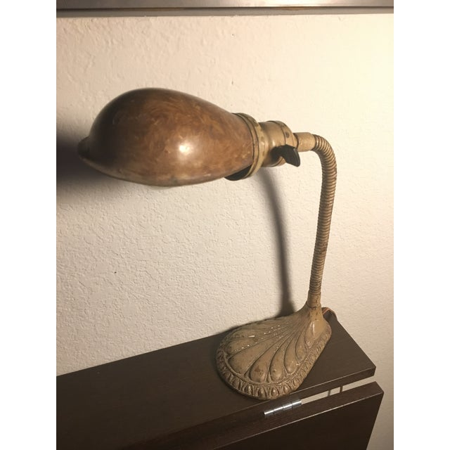 Vintage Hubbell Weber Clamshell Desk Lamp Light Fixture - Image 3 of 5