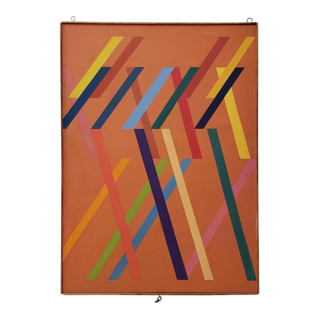 Tom Patrick (American, 20th C.) Vintage Geometric Abstract Painting on Canvas C.1970s For Sale