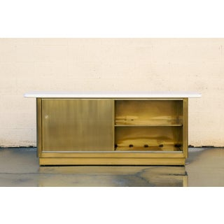 Custom Tanker Style Steel Credenza in Brass and White Finish Preview