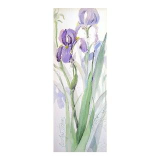 Purple Iris Watercolor Painting For Sale