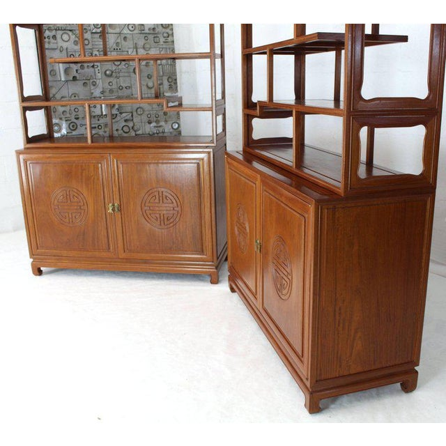 1990s Asian Solid Teak Étagère/Double Carved Door Cabinets - a Pair For Sale - Image 11 of 14