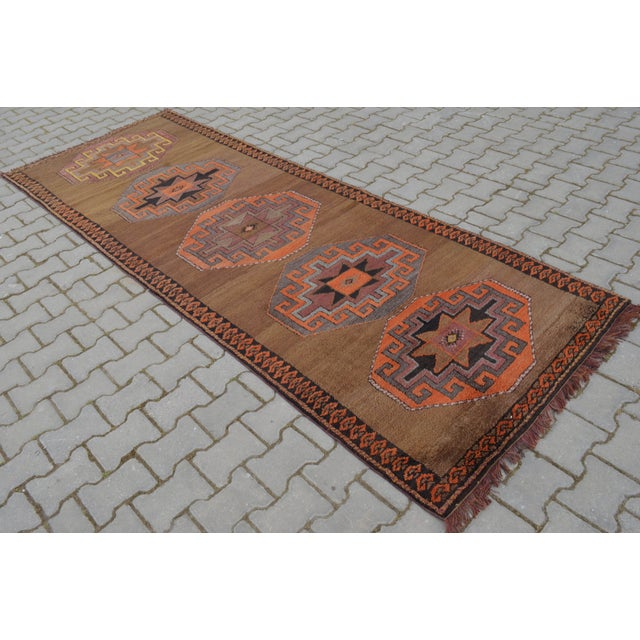 Hand Knotted Turkish Runner Rug - 3′11″ × 10′9″ - Image 6 of 10