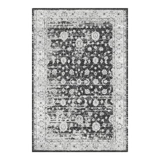 "Distressed Gray & Black Rug - 5'3"" x 7'7"""