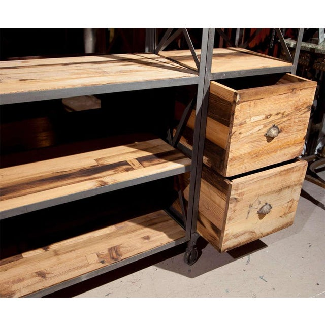 Industrial Wood & Metal Entertainment Center - Image 6 of 10