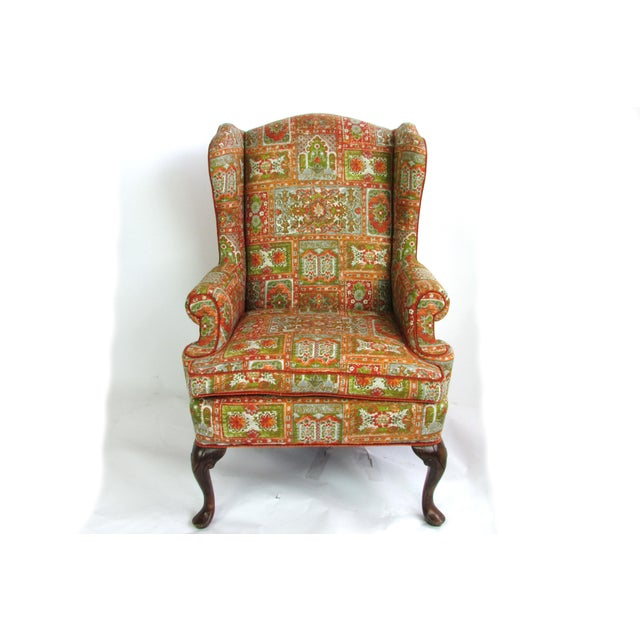 Velvet & Print Wingback Chair - Image 2 of 9