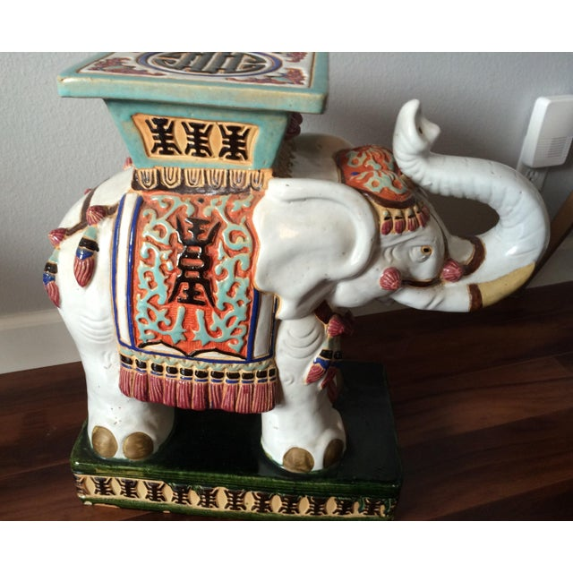 Vintage Asian Elephant Garden Stool or Side Table - Image 3 of 8