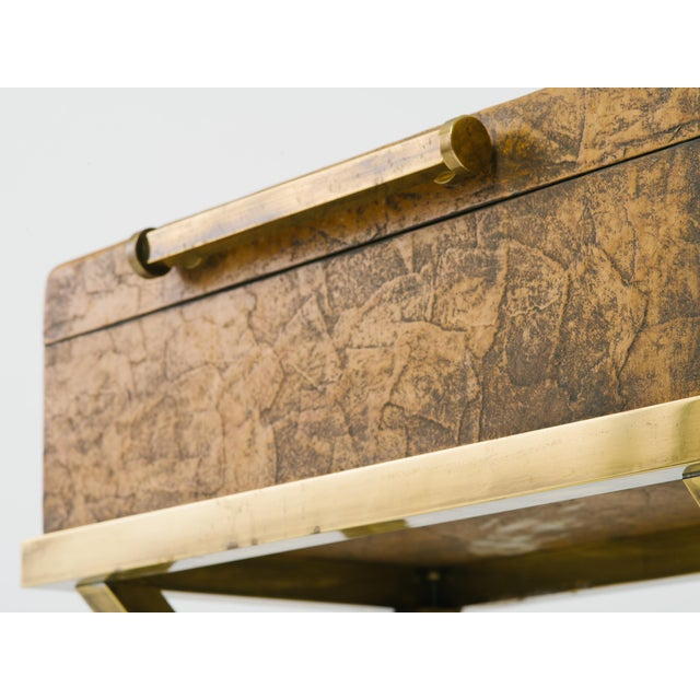 1990s Leather Trunk on Brass Base by Hart Associates For Sale - Image 5 of 12
