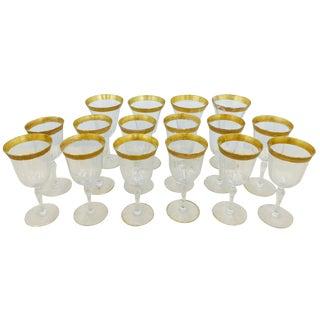 Antique Gold Rimmed Glasses - Set of 16