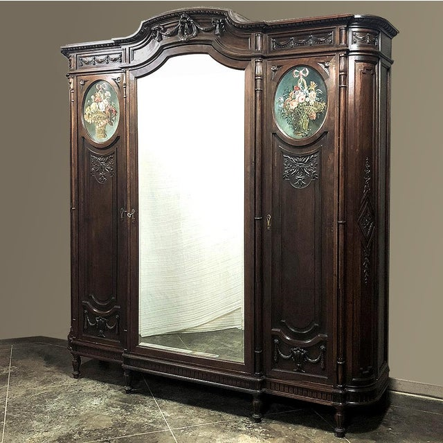19th Century Italian Walnut Louis XVI Triple Armoire For Sale - Image 4 of 13