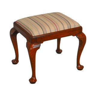 Henkel Harris Solid Cherry Queen Anne Stool or Bench For Sale